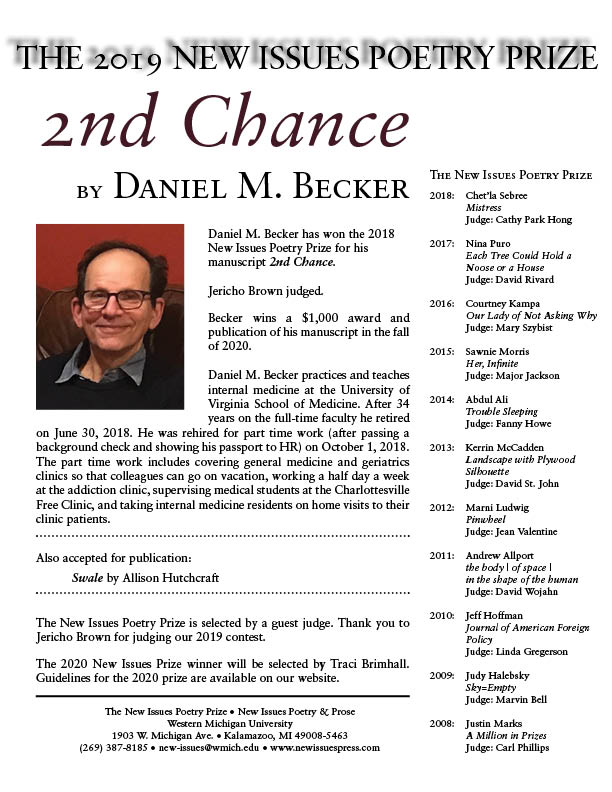 2019 New Issues Poetry Prize Announcement-Becker